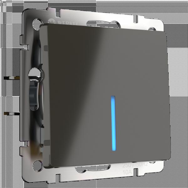Выключатель двухклавишный с подсветкой (серо-коричневый) Werkel WL07-SW-1G-LED (a029870)