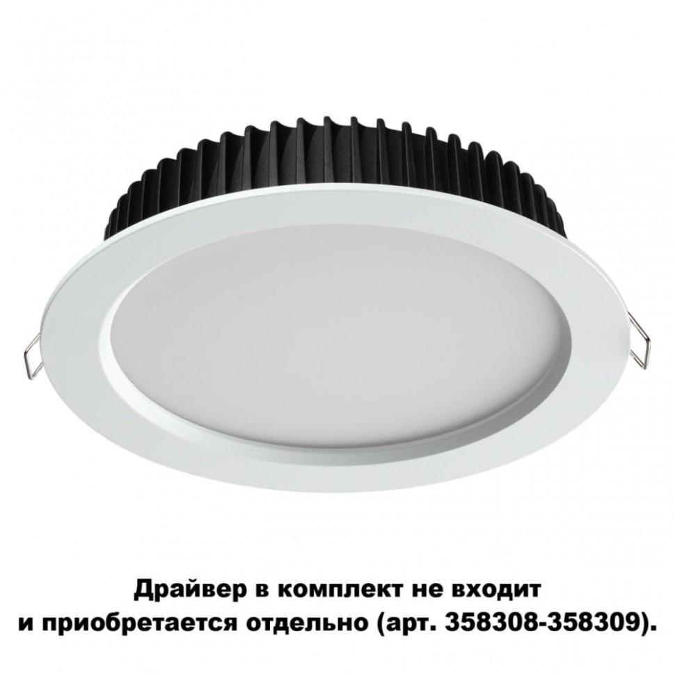 Встраиваемый светодиодный светильник IP44 (драйвер в комплект не входит) Novotech Drum 358306 фото