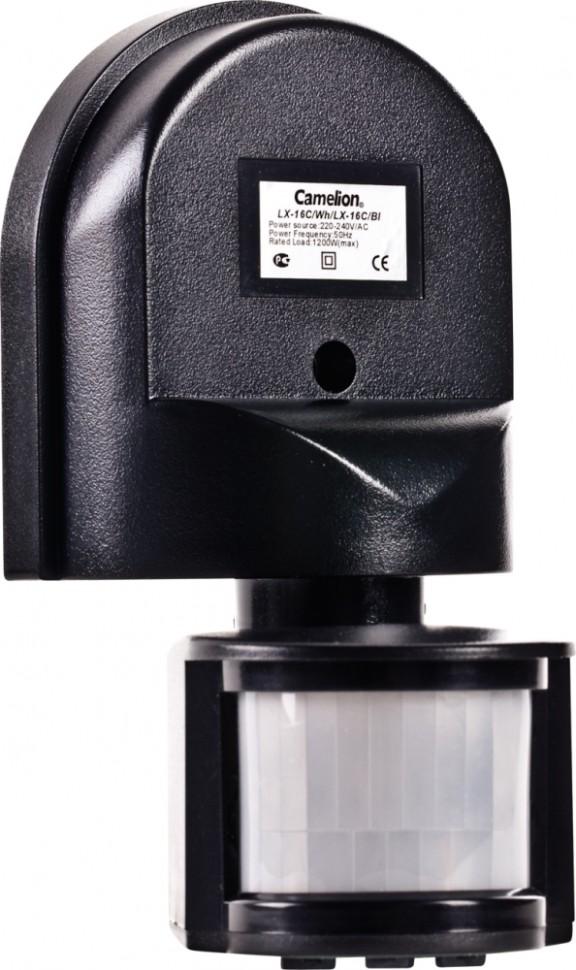 LX-16C/Bl Электронный сенсор включения освещения, настенный, 180° Camelion, черный (6451)