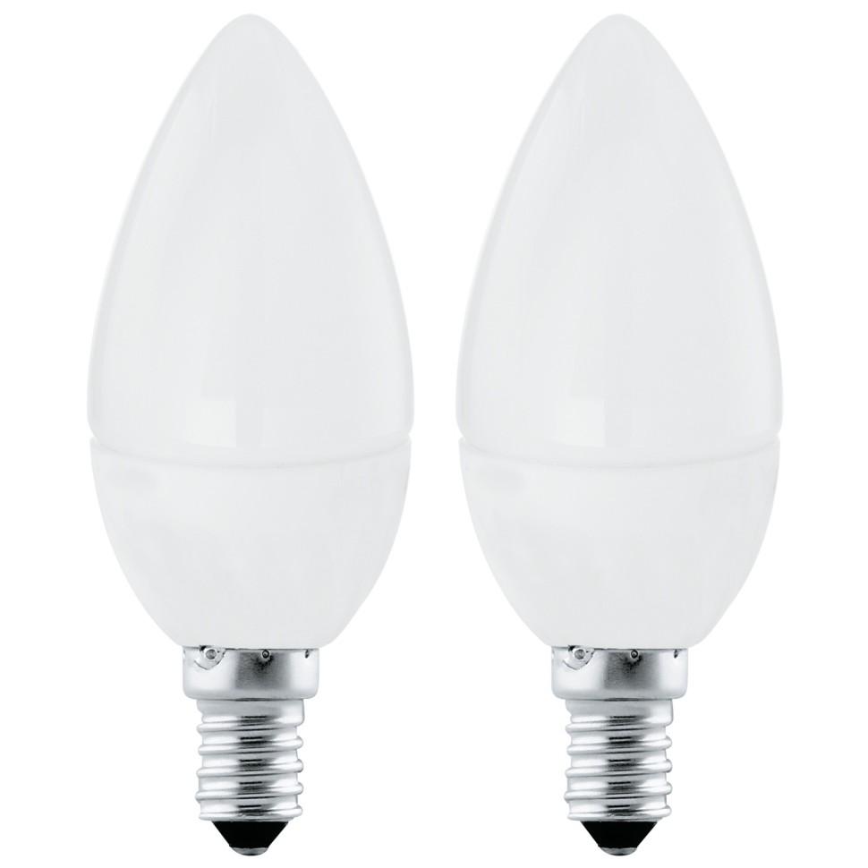 10792 Комплект из 2 светодиодных ламп Eglo, свеча, E14, 4W, 220V, теплый (3000K)